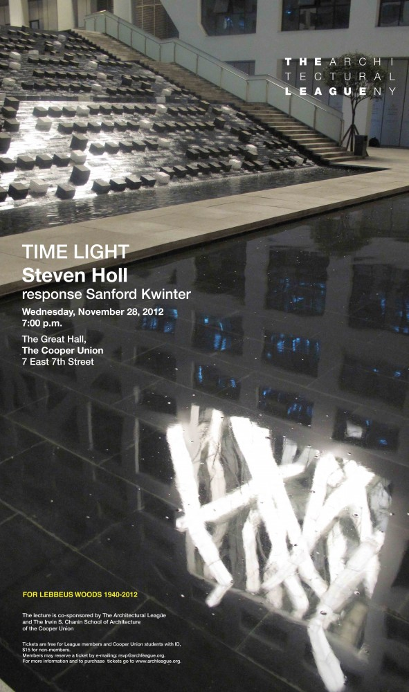 'Time Light' Steven Holl Lecture at the Cooper Union
