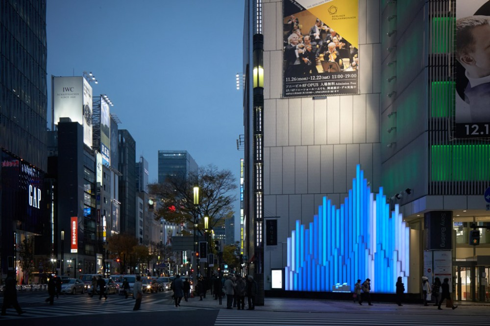 "Sony Building ""Crystal Aqua Trees"" Installation / Torafu Architects"