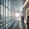 New United States Courthouse Competition Entry / NBBJ (5) Courtroom Lobby © NBBJ