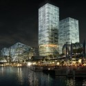 HASSELL, OMA, and Populous To Redevelop Sydney Harbour ICC Hotel At Night. Image © SICEEP