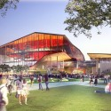 HASSELL, OMA, and Populous To Redevelop Sydney Harbour The Theatre, view from Tumbalong Park. Image © SICEEP