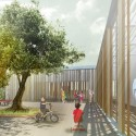 Innovative Bioclimatic European School Third Prize Winning Proposal (5) kindergarten courtyard