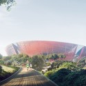 Suzhou Industrial Park Sports Center / NBBJ View of stadium from pedestrian path © NBBJ
