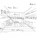 Grottammare Cultural Center / Bernard Tschumi Architects Main room (sketch by Bernard Tschumi); Courtesy of Bernard Tschumi Architects