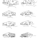 Grottammare Cultural Center / Bernard Tschumi Architects Facade studies (sketch by Bernard Tschumi); Courtesy of Bernard Tschumi Architects