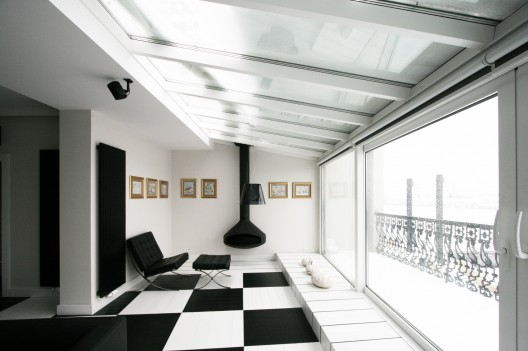 the black and white office design