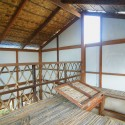 Bamboo strip loft with hatch door