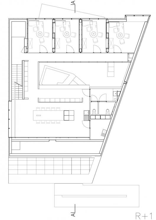 Dexia atelier pierre hebbelinck archdaily for Trapezoid house design