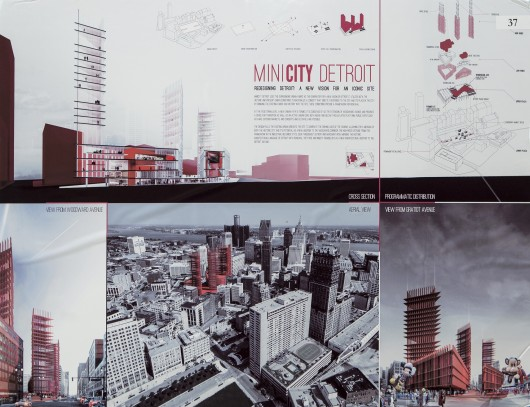 "2013 ""Redesigning Detroit: A New Vision for an Iconic Site"" Winners Announced 1st Place ""MINICITY Detroit"" by Davide Marchetti and Erin Pellegrino"
