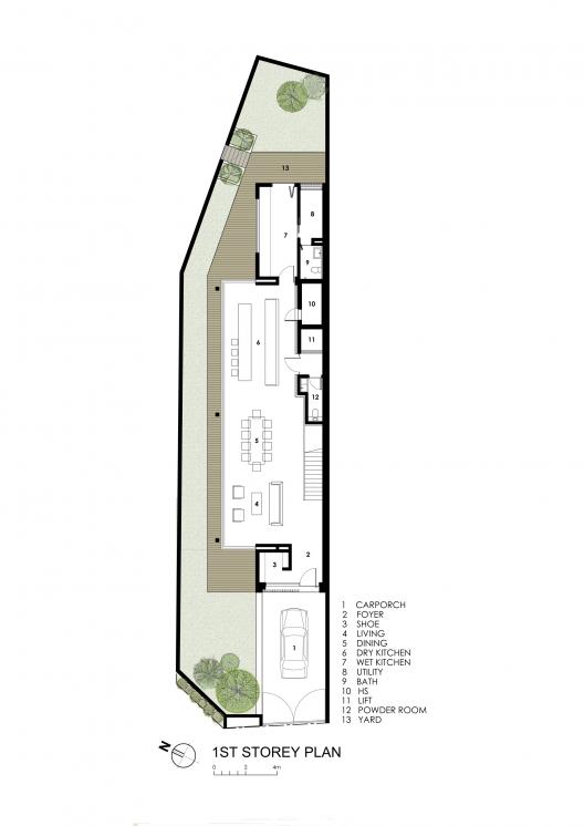 Sunny side house wallflower architecture design for Long narrow house floor plans