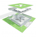 Mont de Marsan Mediatheque / archi5 Exploded Axonometric
