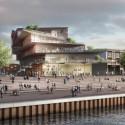 "Kengo Kuma Presents Shortlisted Design for ArtA ""Civic Center"" in Arnhem View from Rhine. Image © Kengo Kuma & Associates"