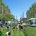 A Vision for a Self-Reliant New York Street view of Amsterdam Ave. in northern Manhattan featuring a mix of traditional and advanced agricultural growing techniques. Image Courtesy of Terreform
