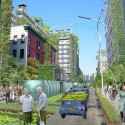 A Vision for a Self-Reliant New York Street view of 147th street in northern Manhattan where dominance has shifted from vehicular circulation to food production and distribution. Image Courtesy of Terreform