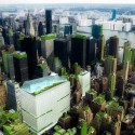 A Vision for a Self-Reliant New York Bird's-eye view of Midtown Manhattan's neighborhood food hubs in New York City (Steady) State. Image Courtesy of Terreform