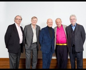 In the original version of this image, taken at the opening of the RIBA exhibition 'The Brits Who Built the Modern World,' Patty Hopkins stands between Norman Foster and Richard Rogers. In this version, used in the television series, she is conspicuously absent. Image Courtesy of Architect's Journal