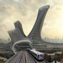 AMLGM Proposes to Top New York Transportation Hubs with Sprawling Tower Train View. Image © AMLGM
