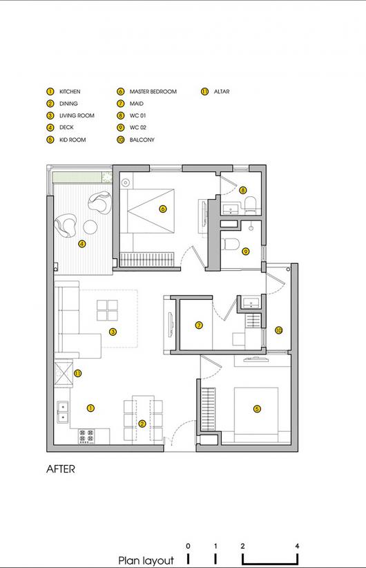 539900d5c07a805cea0006b4 ht apartment landmak architect after floor plan 530x822 Mẫu thiết kế nội thất căn hộ khu tái định cư Nam Trung Yên đẹp lung linh trên báo nước ngoài