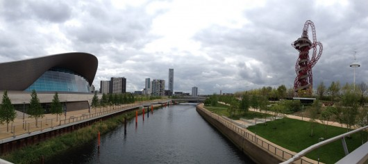 The Olympicopolis site is to the South-East of the Olympic Park, near to Zaha Hadid's Aquatics Centre. Image