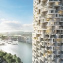 Canary Wharf Development Including Herzog & de Meuron Tower Wins Planning Approval Herzog & de Meuron's Residential Tower. Image Courtesy of Canary Wharf Group plc