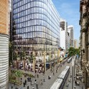 Grimshaw Unveils Sustainable Glass Office Building in the Heart of Sydney Street View with Tram Cars. Image Courtesy of Grimshaw Architects and Crone Partners