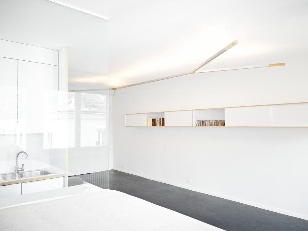 minimalista, blanco, pequeño espacio, dekoloop