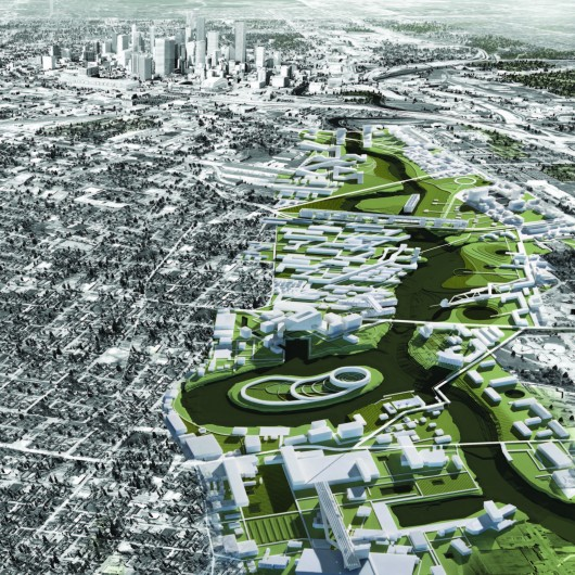 A Walk Along the Bayou: An Award-Winning Proposal Aims to Reinvent Houston's River 02 Mile Aerial Perspective - Downtown. Image Courtesy of UH College of Architecture