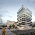 "MVRDV Selected to Design ""Hafenspitze"" Office Towers in Mainz © MVRDV"