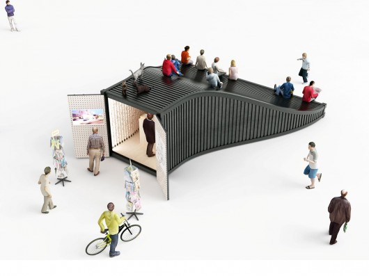 Designers explore an entirely new use for shipping for Architecture kiosk design