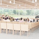 "SANAA's First US Commission Since Pritzker, ""The River"" Underway in Connecticut Interior view of the sanctuary/ indoor amphitheater. Image Courtesy of Grace Farms and SANAA"