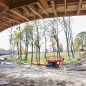 "SANAA's First US Commission Since Pritzker, ""The River"" Underway in Connecticut Grace Farms under construction October 2014. Image Courtesy of Grace Farms and SANAA"