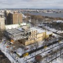 OMA Tops Out on Beaux Arts Museum in Quebec Aerial. Image © MNBAQ, Idra Labrie