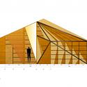 طراحی داخلی آرایشگاه ، معماری آرایشگاه ، ساخت با LVL ، معماری داخلی مثلثی