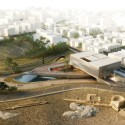 Tsabikos Petras Wins First Prize for Greek Archaeology Museum Proposal Bird's eye view of the city. Image Courtesy of  Tsabikos Petras Architectural Studio