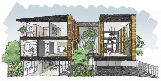 Townhouses with Private Courtyards / baan puripuri 55480b87e58ece502900066b townhouses with private courtyards baan puripuri baan puripuri 18 sketch 530x268