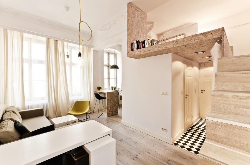 Small Apartment Incorporates Mezzanine Bedroom To Maximize ...